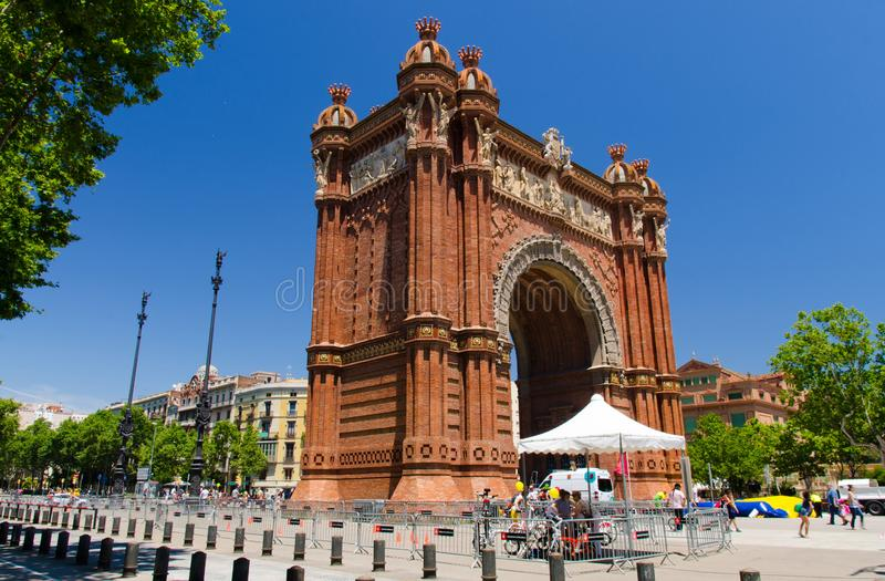 The Arc de Triomf - triumphal arch in Barcelona city, Catalonia, Spain royalty free stock photo