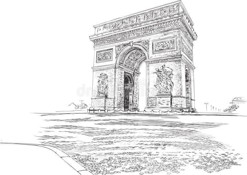 Arc de Triomphe Παρίσι Γαλλία, χέρι-σχεδιασμός r ελεύθερη απεικόνιση δικαιώματος