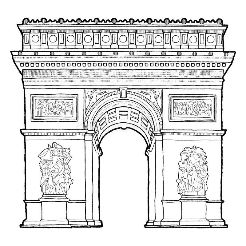 Arc de Triomphe, Παρίσι: Διανυσματικό συρμένο χέρι ορόσημο απεικόνισης απεικόνιση αποθεμάτων