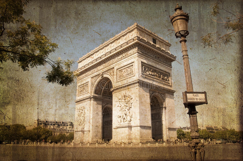 Arc de Triomphe, Παρίσι, εκλεκτής ποιότητας διαδικασία στοκ φωτογραφία με δικαίωμα ελεύθερης χρήσης