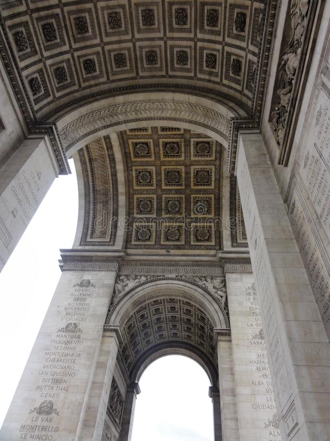 Arc de Triomphe στη toile - Γαλλία - άποψη ‰ de λ ` Ã θέσεων του κατώτατου σημείου στοκ φωτογραφία