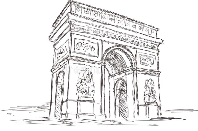 Arc de Triomphe σχέδιο σκίτσων πράσινων φώτων, Παρίσι Γαλλία διανυσματική απεικόνιση