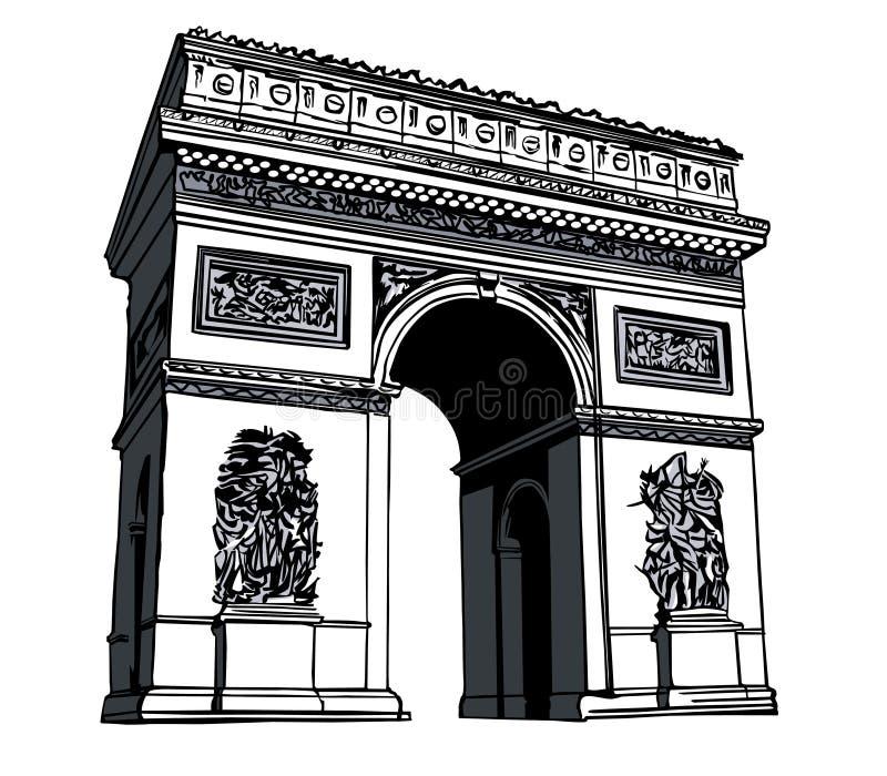 Arc de triomphe. France, paris: drawing of the Arc de triomphe vector illustration