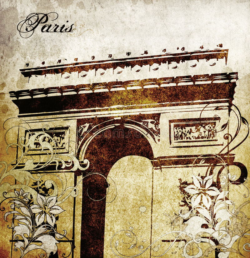 Arc de Triomphe. Grungy antique background of the Arc de Triomphe royalty free illustration