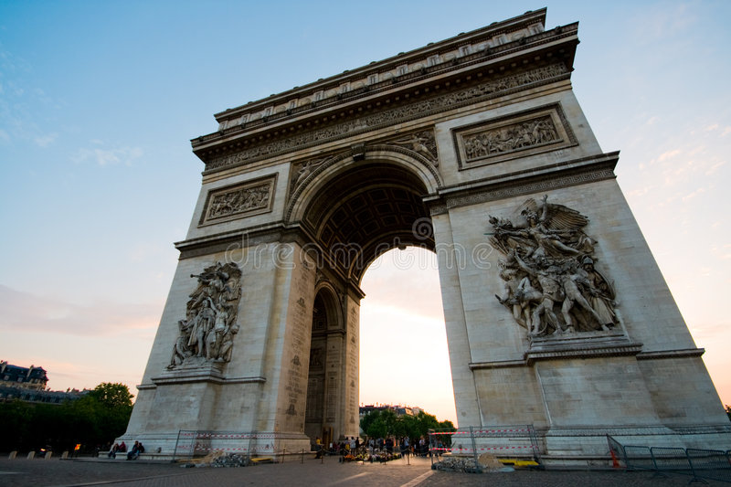 Arc de triomphe. A super wide-angle picture of Arc De Triomphe, No 2, from the front royalty free stock photography
