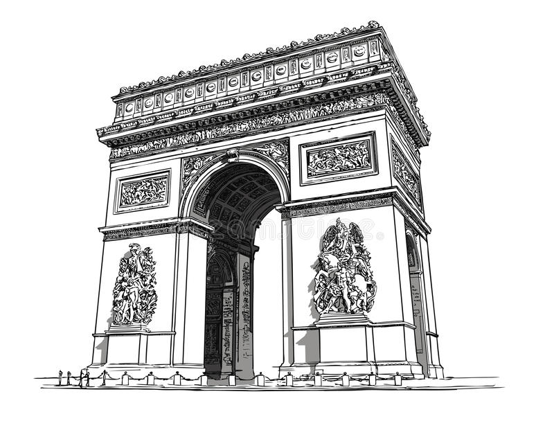 Arc de triomphe. Paris, Arc de triomphe: Vector representation of an Hand drawing vector illustration