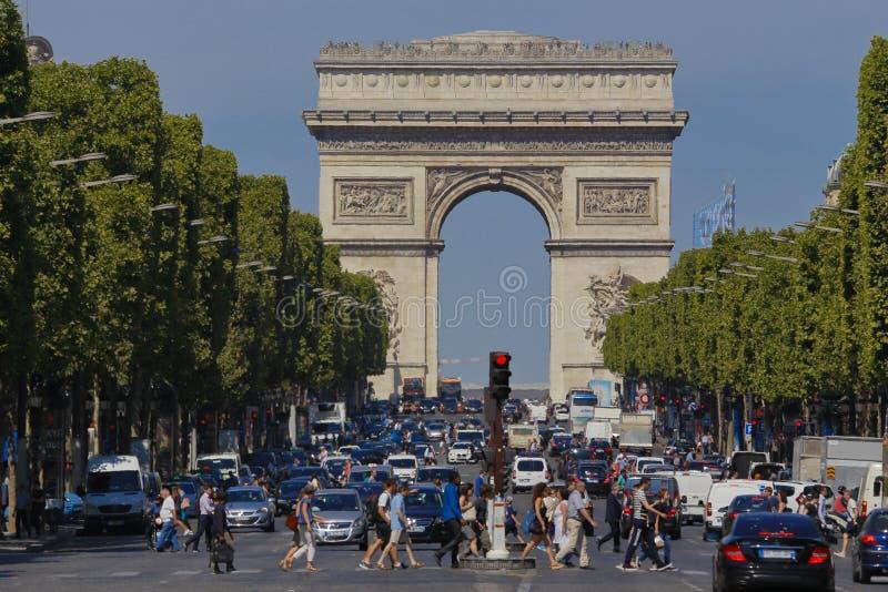 Arc de Triomphe, Arch of Triumph as seen during the day, Paris, August 3, 2015 stock photos