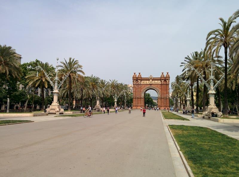 Arc de Triomphe Barcelona Spanien stockbilder