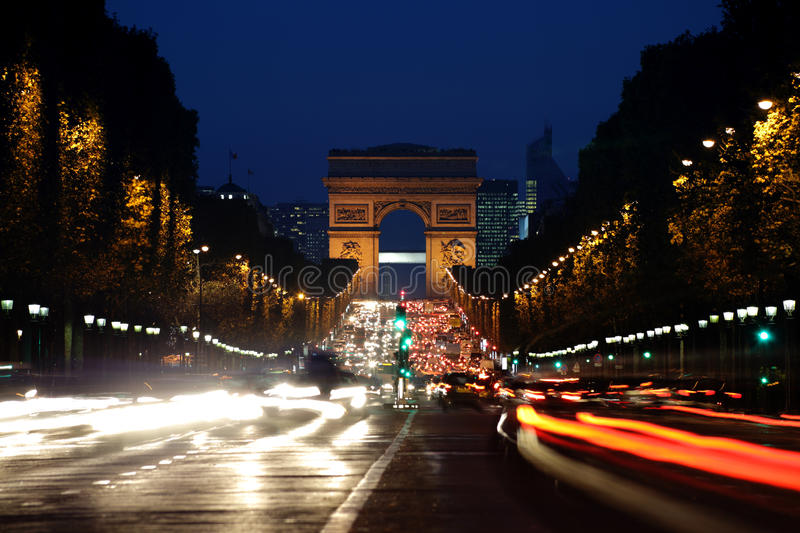 Download Arc De Triomphe And Champs-Elysees Avenue At Night Stock Image - Image: 21872563