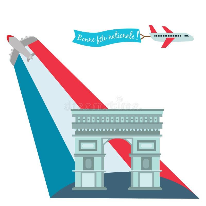 Arc de Triomphe dans les Frances pendant la célébration de l'illustration patriotique nationale de vecteur de jour de bastille de illustration de vecteur