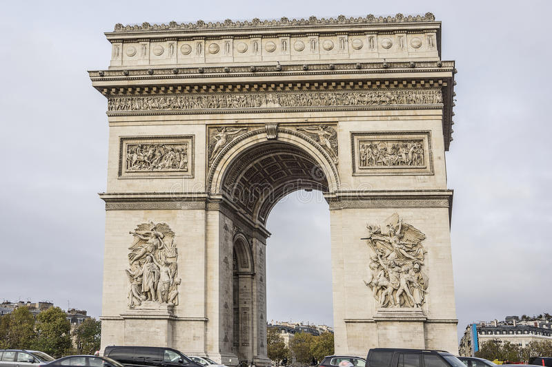 arc de triomphe de l 39 etoile on charles de gaulle place paris france stock photo image 52479837. Black Bedroom Furniture Sets. Home Design Ideas