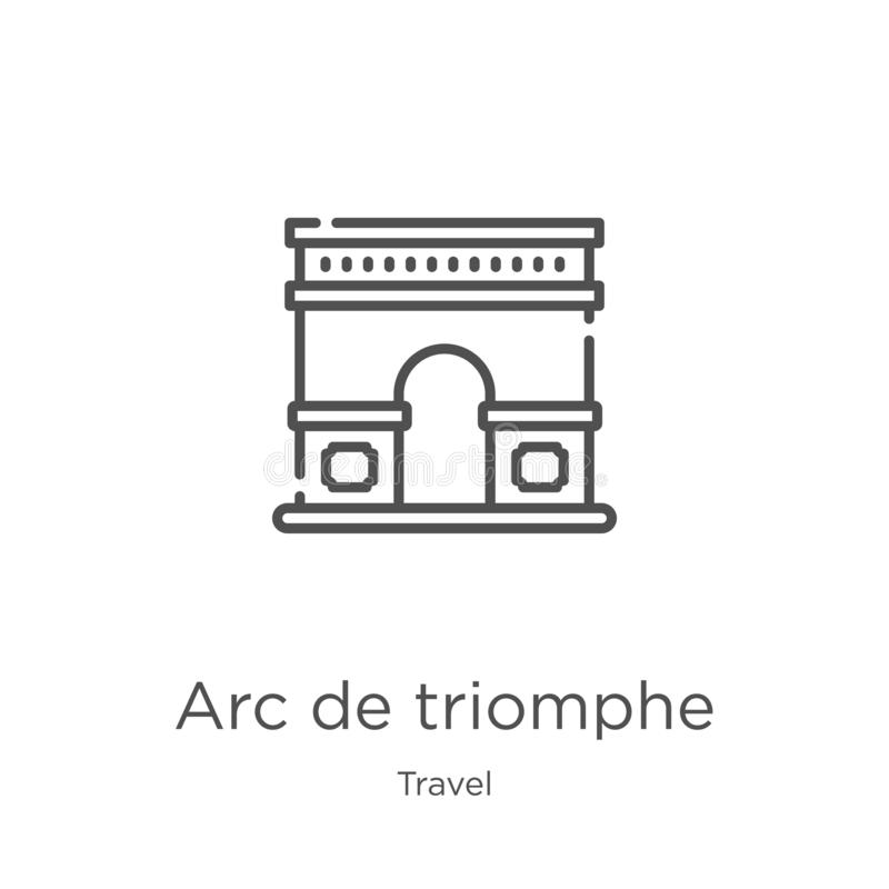 Arc de triomphe icon vector from travel collection. Thin line arc de triomphe outline icon vector illustration. Outline, thin line. Arc de triomphe icon. Element stock illustration