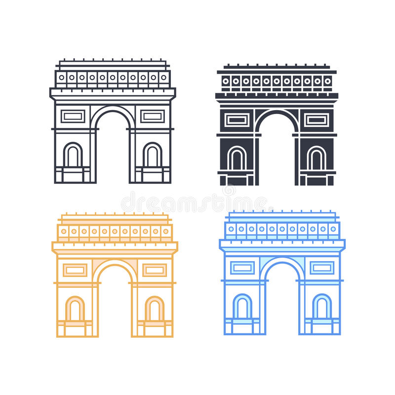 The Arc de Triomphe. Icons. Triumphal arch in four different styles. Symbol of Paris. Vector illustration vector illustration