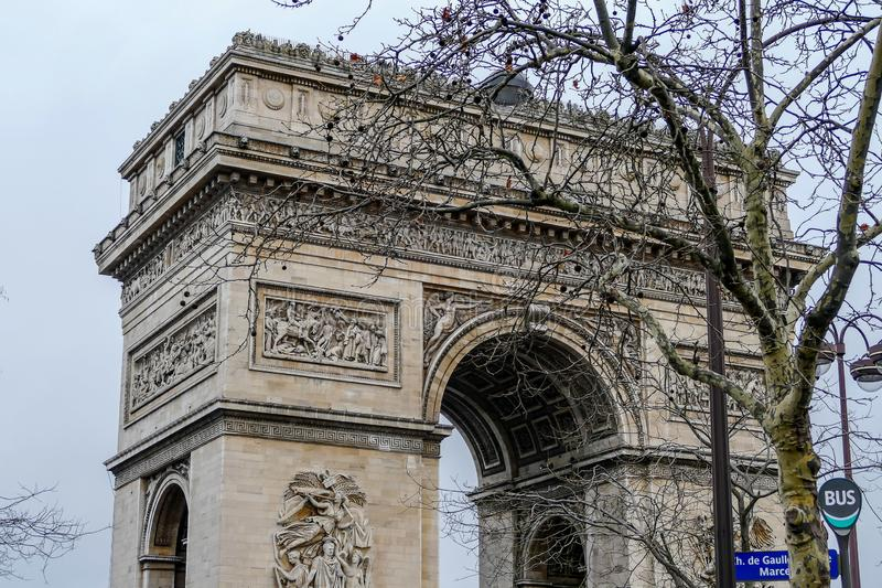 Arc de Triomphe, imagen de la foto una vista panorámica hermosa de la ciudad del metropolitano de París imagen de archivo