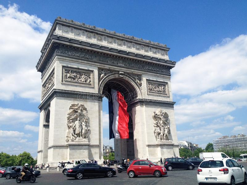 Triumphal Arch in Paris. The Arc de Triomphe de l`Étoile Triumphal Arch of the Star is one of the most famous monuments in Paris, standing at the western end stock photography
