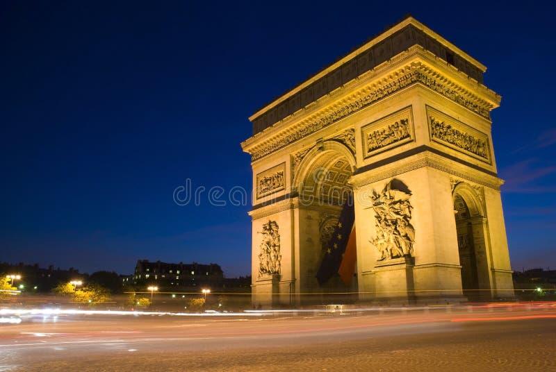 Arc de Triomphe na noite, Paris, france foto de stock