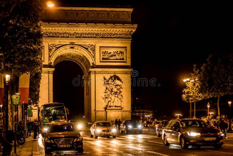 Arc de Triomphe at Night stock photos