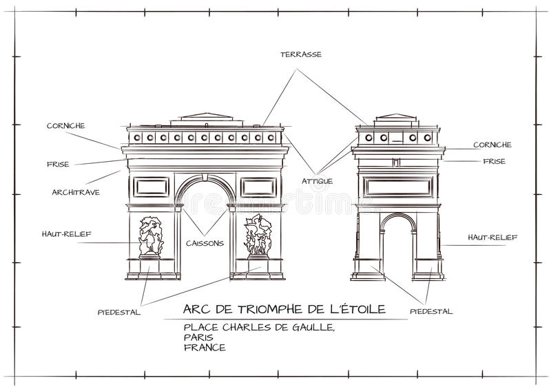 Arc De Triomphe. Old Style Architectural Technical Drawing of Arc De Triomphe, Paris stock illustration