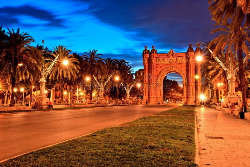 Arc de Triomphe in Parc de la Ciutadella at dusk, Barcelona stock photo