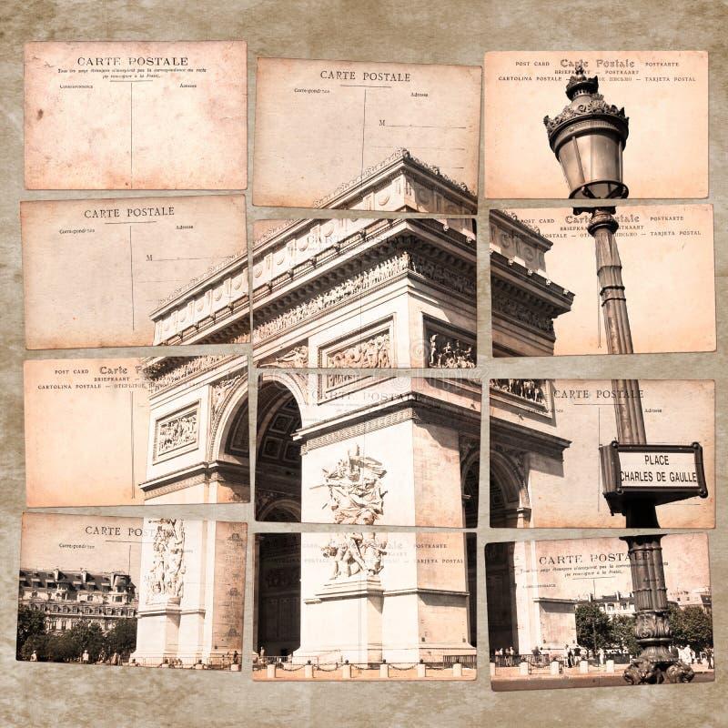 Arc de Triomphe, Parigi, collage d'annata della cartolina fotografia stock libera da diritti