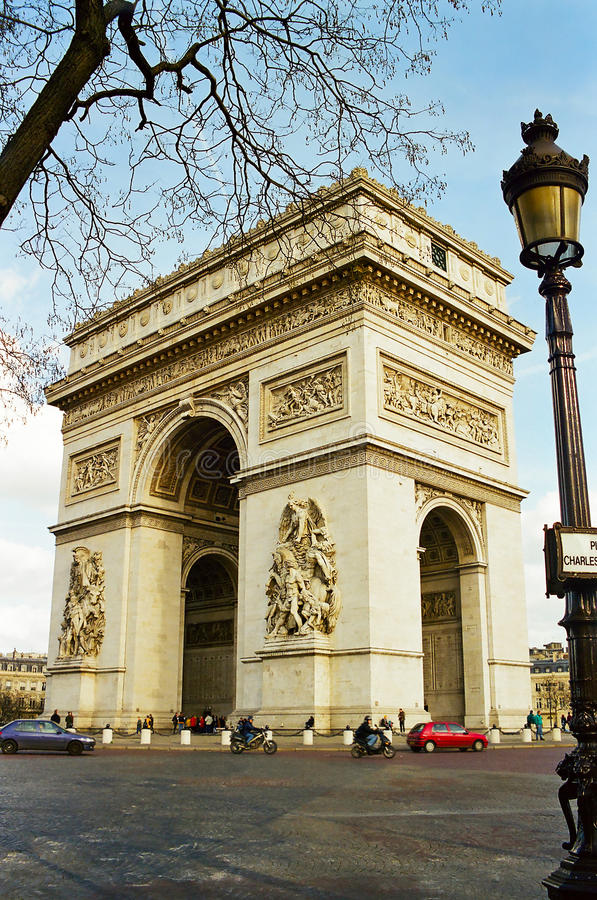 Arc de Triomphe, Parigi Francia fotografia stock libera da diritti