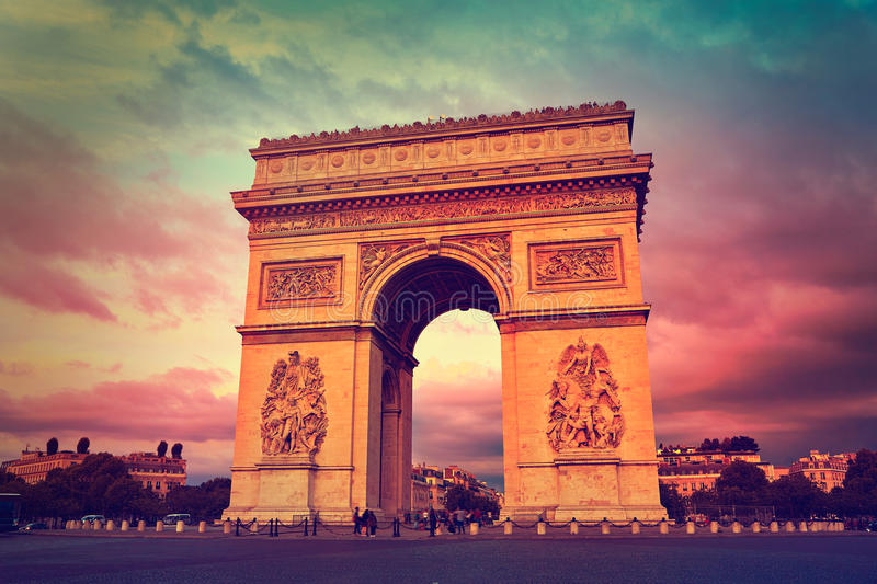 Arc de Triomphe in Paris Arch of Triumph. Sunset at France royalty free stock image