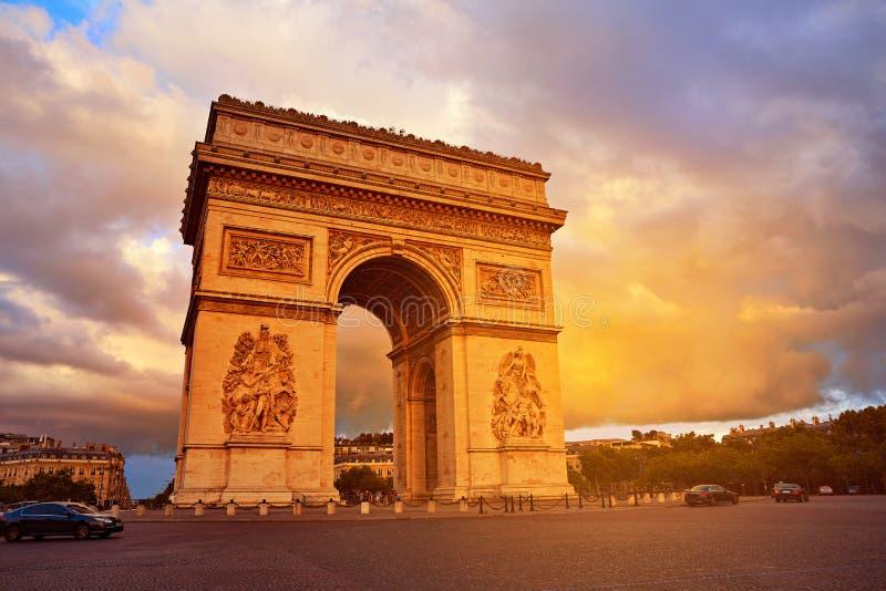 Arc de Triomphe in Paris Arch of Triumph. Sunset at France stock photo