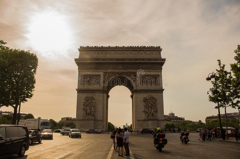 Arc De Triomphe In Paris, France stock images