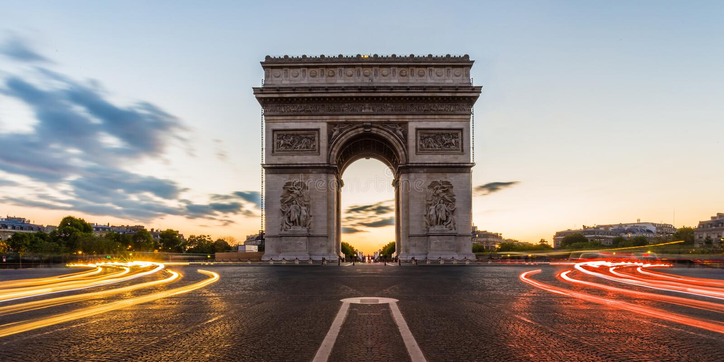 Arc de Triomphe Paris, Frankrike royaltyfri foto
