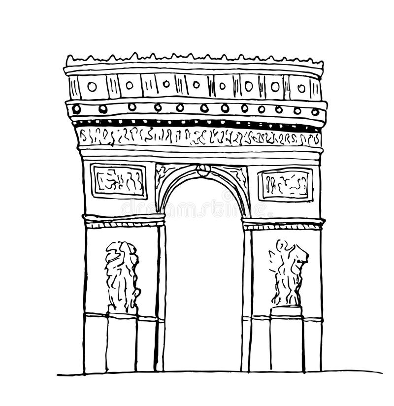 Arc de Triomphe. Paris. Hand-drawn sketch isolated on white stock illustration