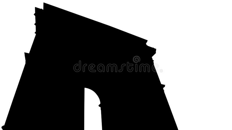 Arc de Triomphe -silhouet op wit wordt geïsoleerd dat stock afbeelding