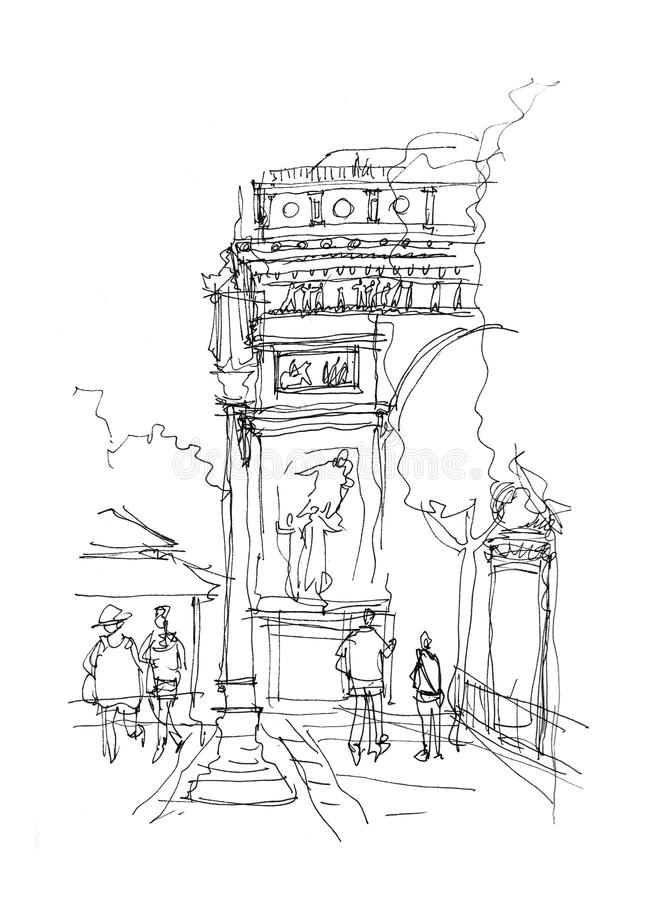Arc de Triomphe sketch. Doodle stock illustration