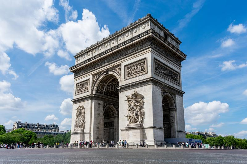 The Arc De Triomphe on a sunny day royalty free stock photo
