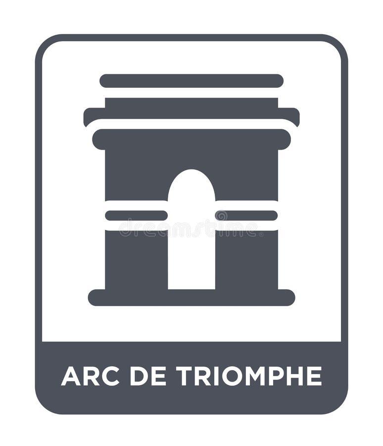 Arc de Triomphe symbol i moderiktig designstil Arc de Triomphe symbol som isoleras på vit bakgrund enkel Arc de Triomphe vektorsy vektor illustrationer