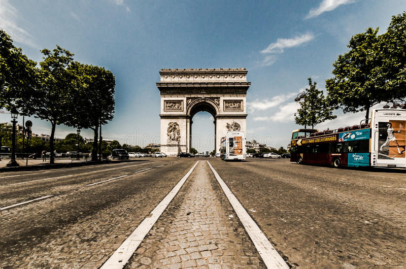 Arc de triomphe. Taken from the Champs Elysees, Paris stock photo