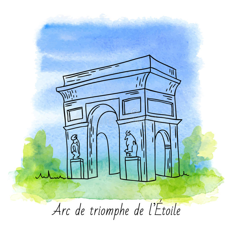 Download Arc de Triomphe stock vector. Image of background, city - 56985665