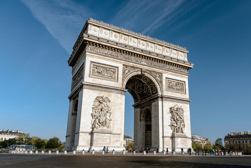 Arc de Triomphe - voûte de triomphe, Paris, France photographie stock