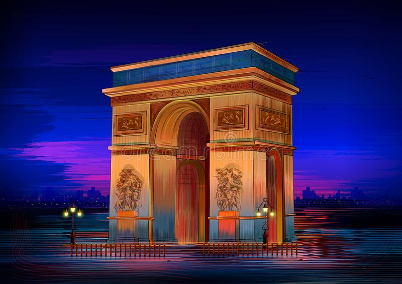 Arc De Triomphe world famous historical monument of Paris. Vector illustration of Arc De Triomphe world famous historical monument of Paris vector illustration