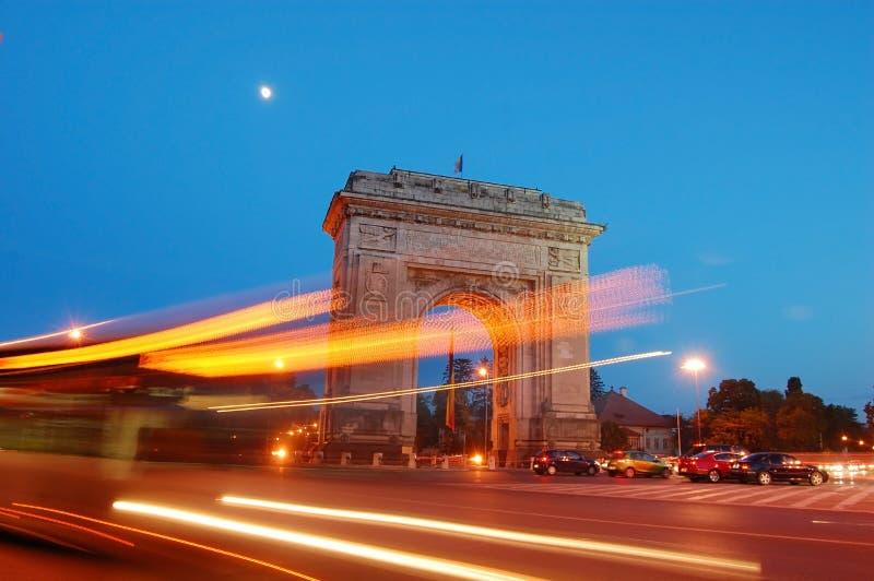 Arc de triumph. At night, Bucharest, Romania royalty free stock photo