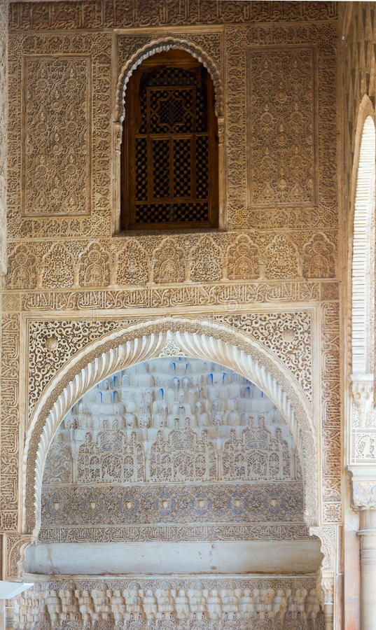 Arc des myrtes Patio de los Arrayanes à Alhambra photo stock