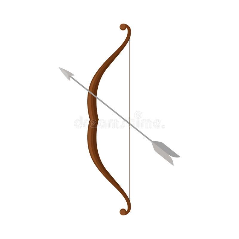 Arc en bois avec la flèche en acier grise L'arme a employé chacun des deux pour chasser et dans la bataille Conception plate de v illustration de vecteur