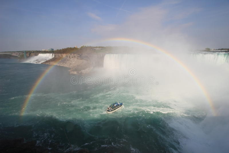 Arc-en-ciel au-dessus de Niagara Falls image libre de droits