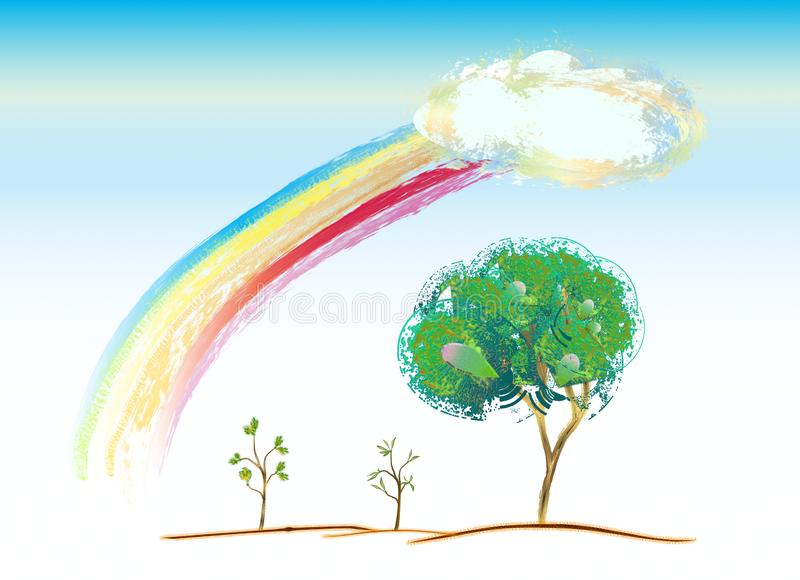 Arc-en-ciel avec le paysage naturel d'art illustration de vecteur
