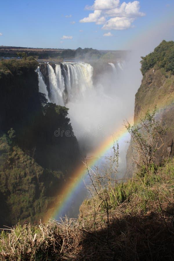 Arc-en-ciel chez Victoria Falls images libres de droits