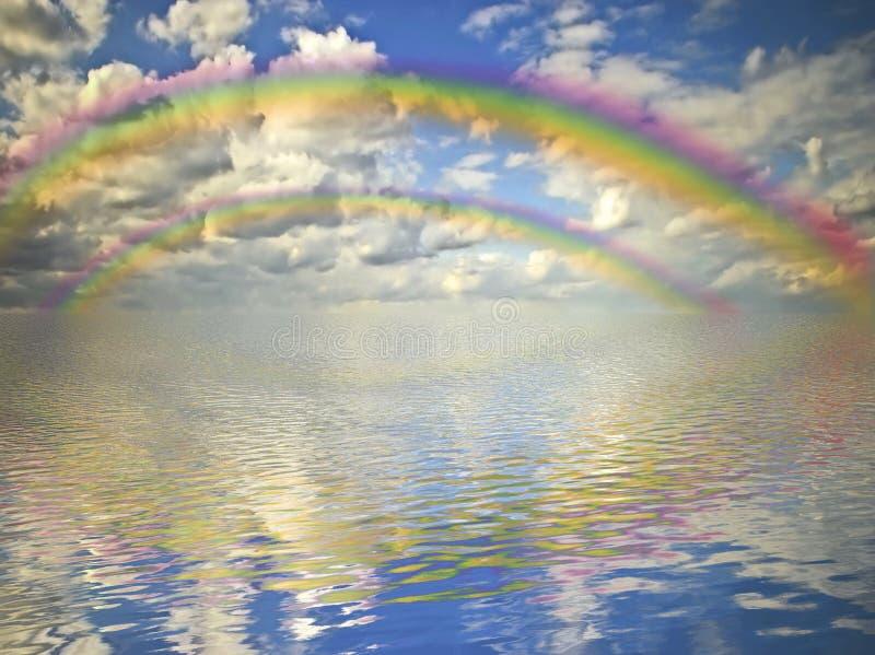 Arc-en-ciel, ciel nuageux et océan images libres de droits