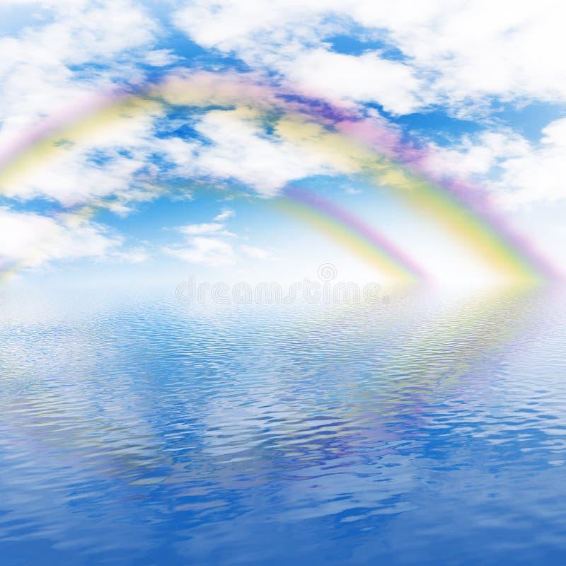 Arc-en-ciel, ciel nuageux et océan photo libre de droits