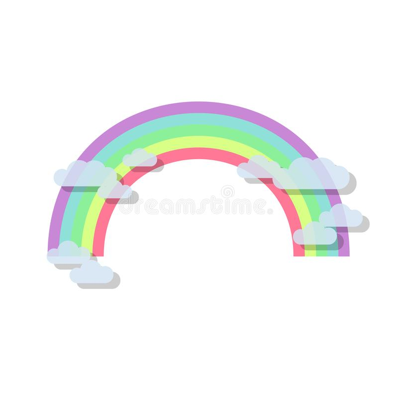 Arc-en-ciel color? avec les nuages transparents Illustration de vecteur d'arc-en-ciel dans le style plat illustration libre de droits