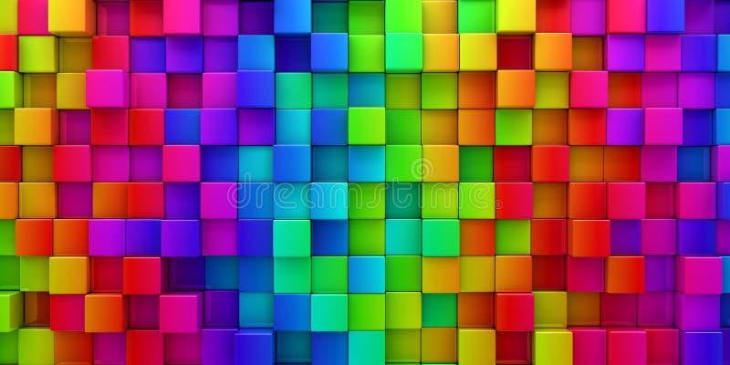 Arc-en-ciel de fond abstrait de blocs colorés illustration de vecteur