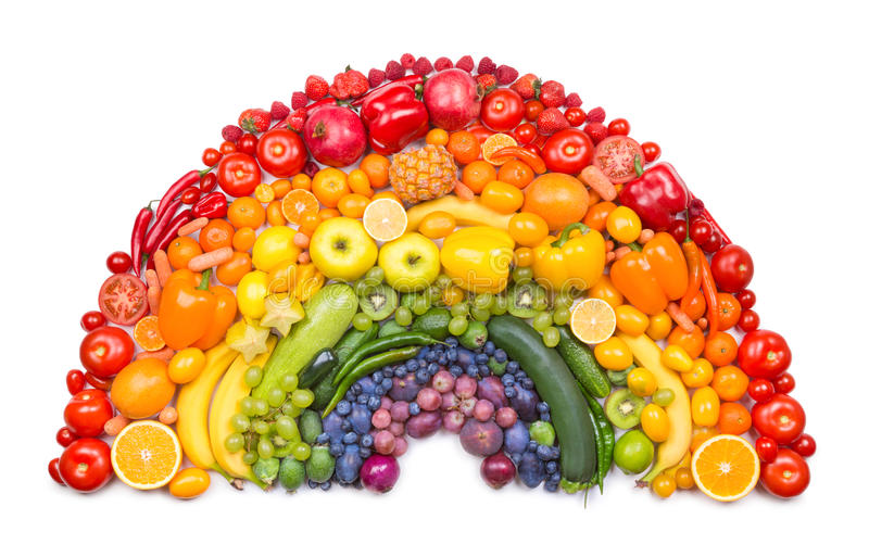Arc-en-ciel de fruits et légumes photo libre de droits