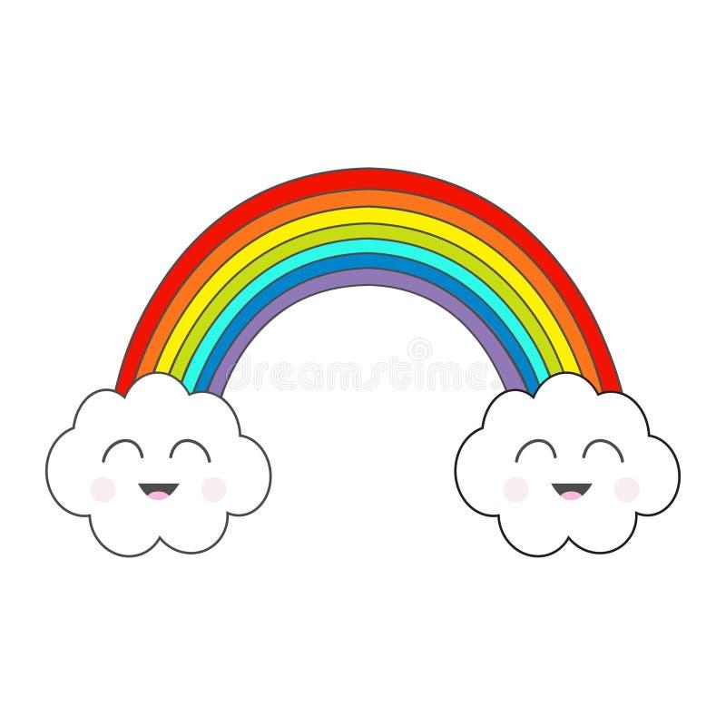 Arc-en-ciel et deux nuages de découpe Émotion de sourire de visage Caractère mignon de kawaii de bande dessinée Symbole de signe  illustration stock